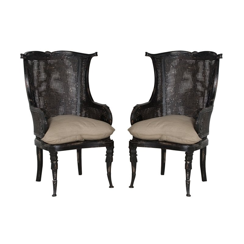 Guild Master Caned Wingback Chair