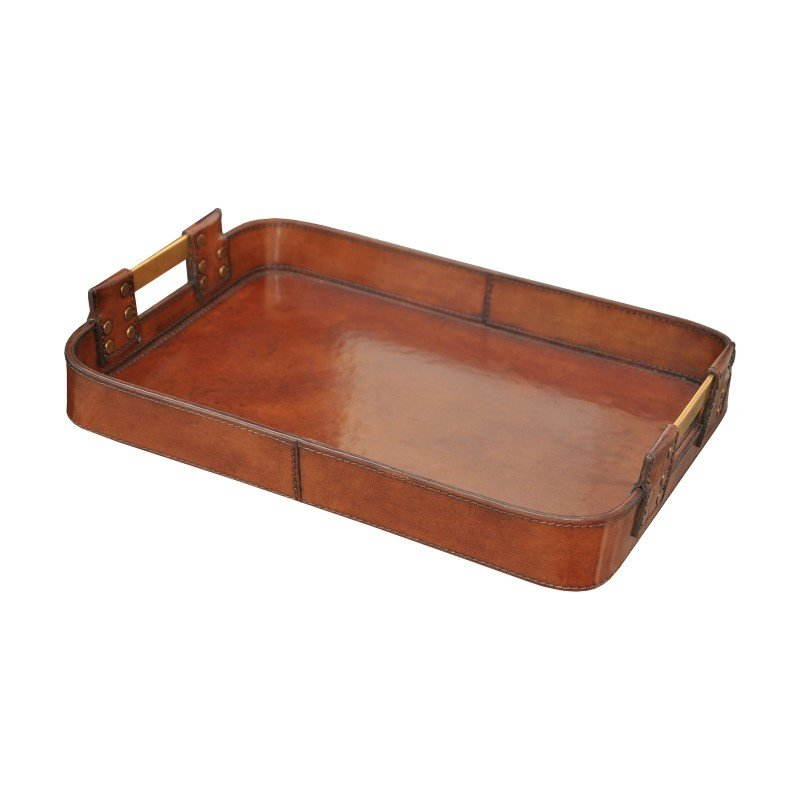 Guild Master Large Leather Tray With Brass Handles (8819-020)