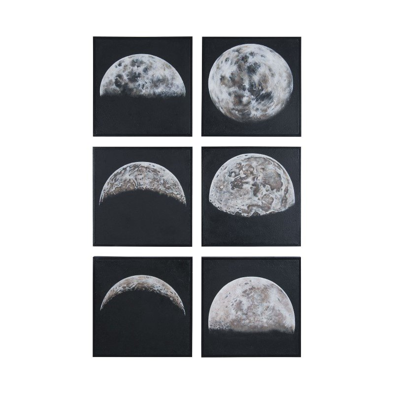 Guild Master Moon Shadows Hand Painted Wall Art - Set of 6 (1615508S)