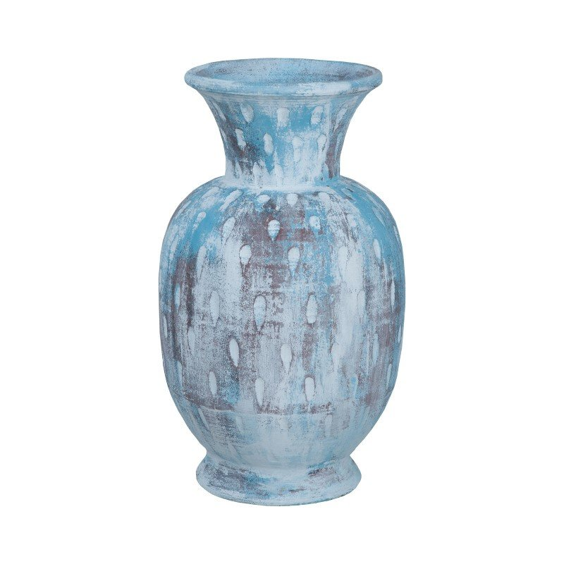 Guild Master Rustic Blu Vase III In Distressed White And Blue With Teardrop Pattern (2015503)