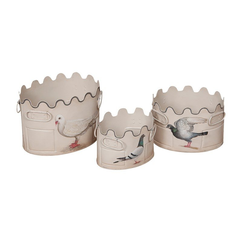 Guild Master Scalloped Tin Planters (203008S)