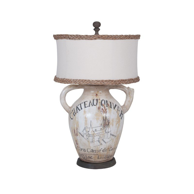 Guild Master Terra Cotta II Table Lamp With Handpainted Wine Label Graphics (355017)