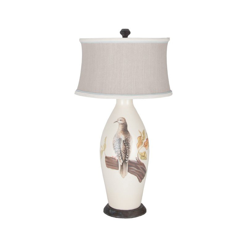 Guild Master Terra Cotta III Table Lamp In Loft White With Original Artwork (355020)