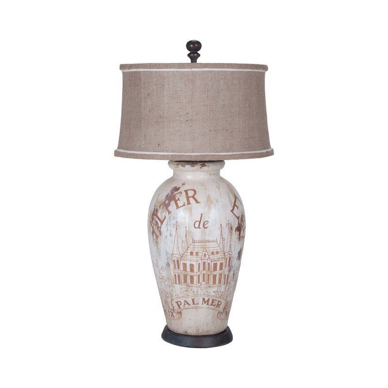 Guild Master Terra Cotta Table Lamp I With Wine Label Graphics (3516040)