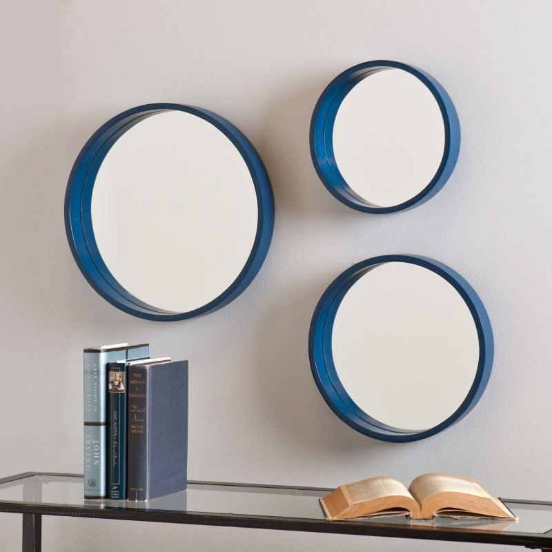 Holly & Martin Daws Wall Mirror 3-Piece Set in Navy