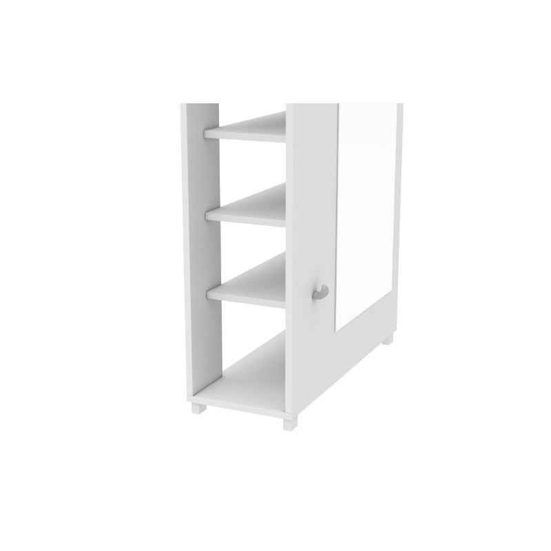 HomeRoots Furniture 10-Shelf with 3 Hooks and Full Length Mirror Shoe Closet in White (250858)