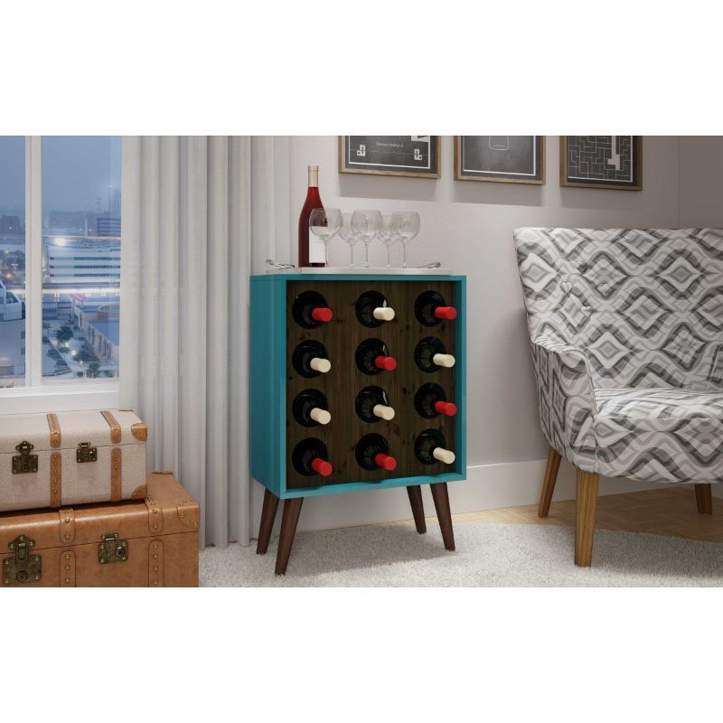 HomeRoots Furniture 12 Bottle Wine Cabinet and Display in Aqua and Rustic Brown (297013)