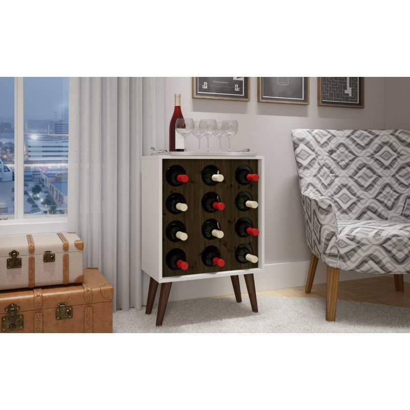HomeRoots Furniture 12 Bottle Wine Cabinet and Display in White and Rustic Brown (297012)