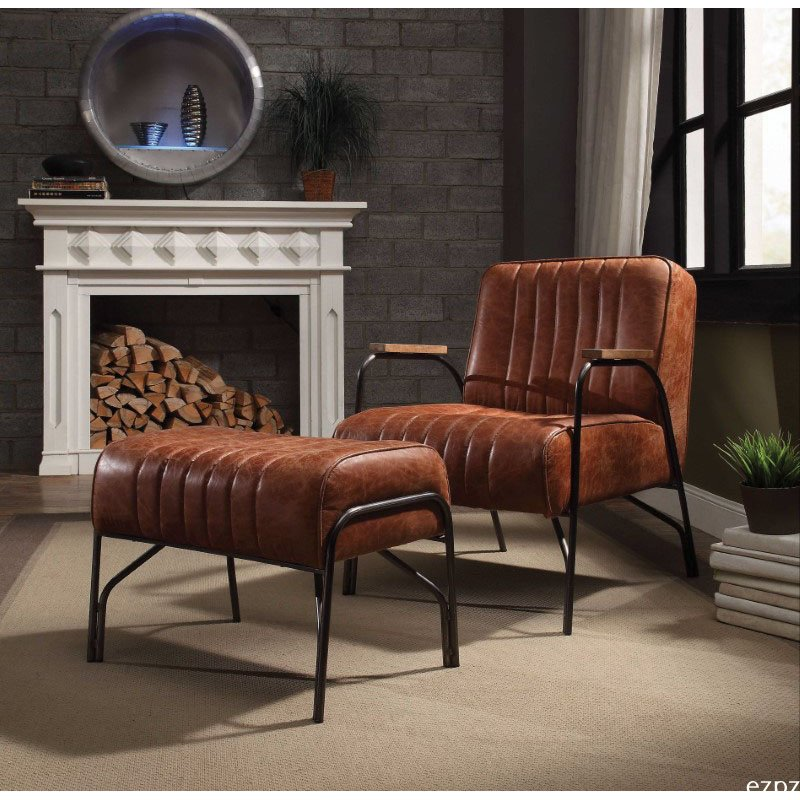 HomeRoots Furniture 2 Piece Chair and Ottoman in Cocoa Top Grain Leather - Top Grain Leather, Wood, Metal, Foam (318872)