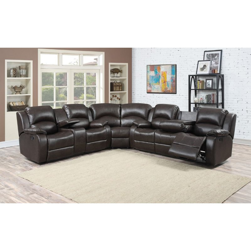 HomeRoots Furniture 3 Piece Sectional with 4 Recliners and storage Console (248487)