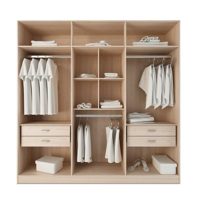 HomeRoots Furniture 4-Drawer He/She Freestanding Armoire in Nature and Nude (250690)