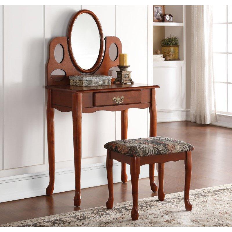 HomeRoots Furniture Aldine Vanity Set, Oak (285403)