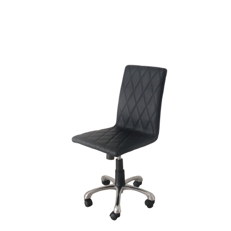 HomeRoots Furniture Armless Office Chair Black Faux Leather High Density Foam Adjustable Height Aluminum Base (320824)
