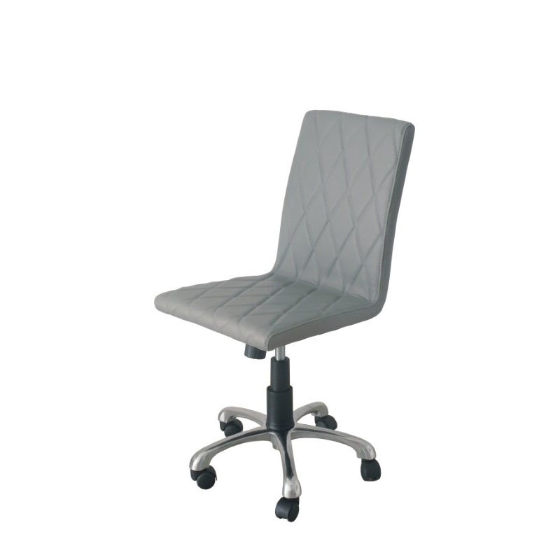 HomeRoots Furniture Armless Office Chair Gray Faux Leather High Density Foam Adjustable Height Aluminum Base (320825)