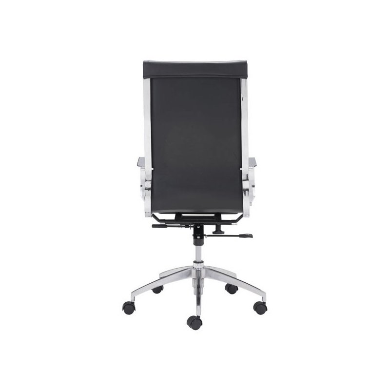 HomeRoots Furniture Back Office Chair Black - Leatherette Chromed Steel, Brushed Aluminum (248822)