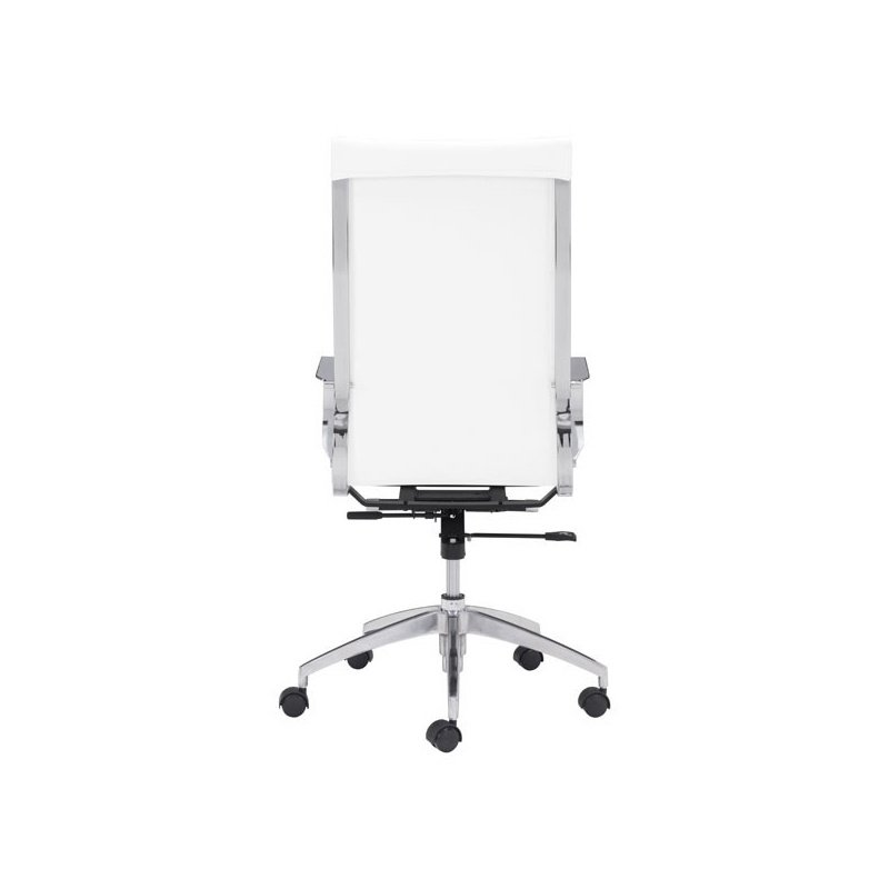 HomeRoots Furniture Back Office Chair White - Leatherette Chromed Steel, Brushed Aluminum (248823)