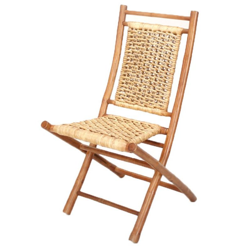 HomeRoots Furniture Bamboo Folding Chair with Open Link Water Hyacinth Weave(Set of 2) - Bamboo (294741)