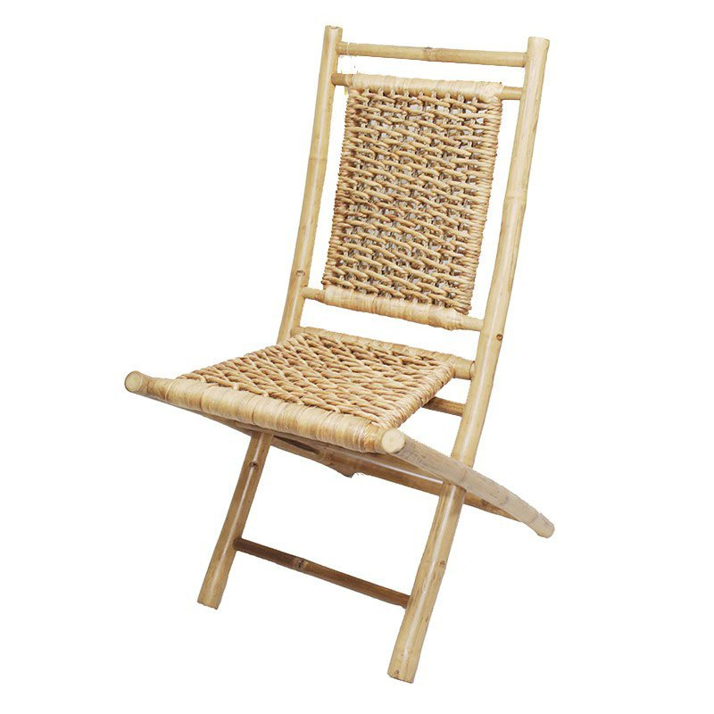 HomeRoots Furniture Bamboo Folding Chair with Open Link Water Hyacinth Weave(Set of 2) - Bamboo (294742)