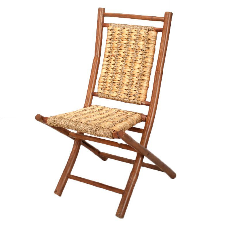 HomeRoots Furniture Bamboo Folding Chair with Open Link Weave of Water Hyacinth and (Set of 2) - Bamboo (294743)