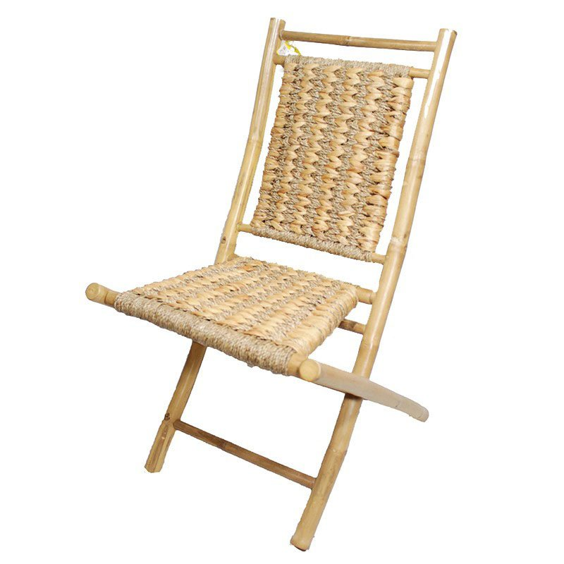 HomeRoots Furniture Bamboo Folding Chair with Open Link Weave of Water Hyacinth and (Set of 2) - Bamboo (294744)