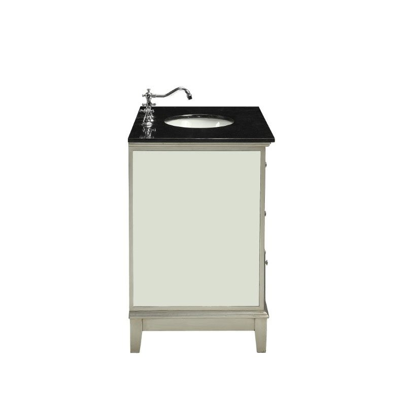 HomeRoots Furniture Bathroom Sink Cabinet in Marble and Mirrrored - Marble, Mirror, Wood, MDF (319057)
