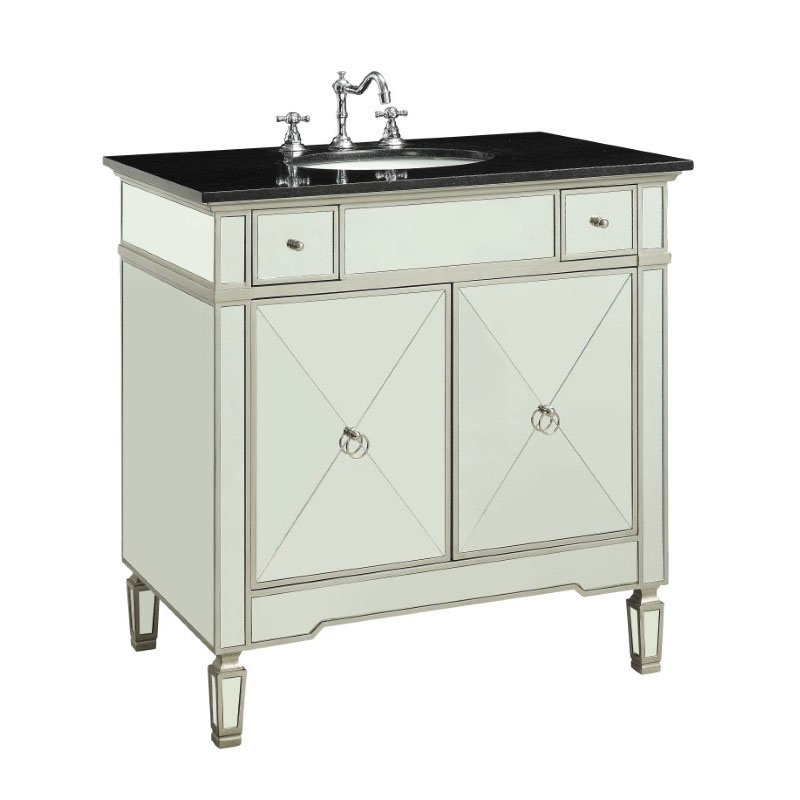 HomeRoots Furniture Bathroom Sink Cabinet in Marble and Mirrrored - Marble, Mirror, Wood, MDF (319058)