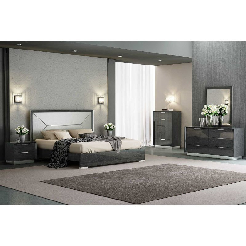 HomeRoots Furniture Bed King, High Gloss Grey, Taupe Faux Leather Headboard (320672)
