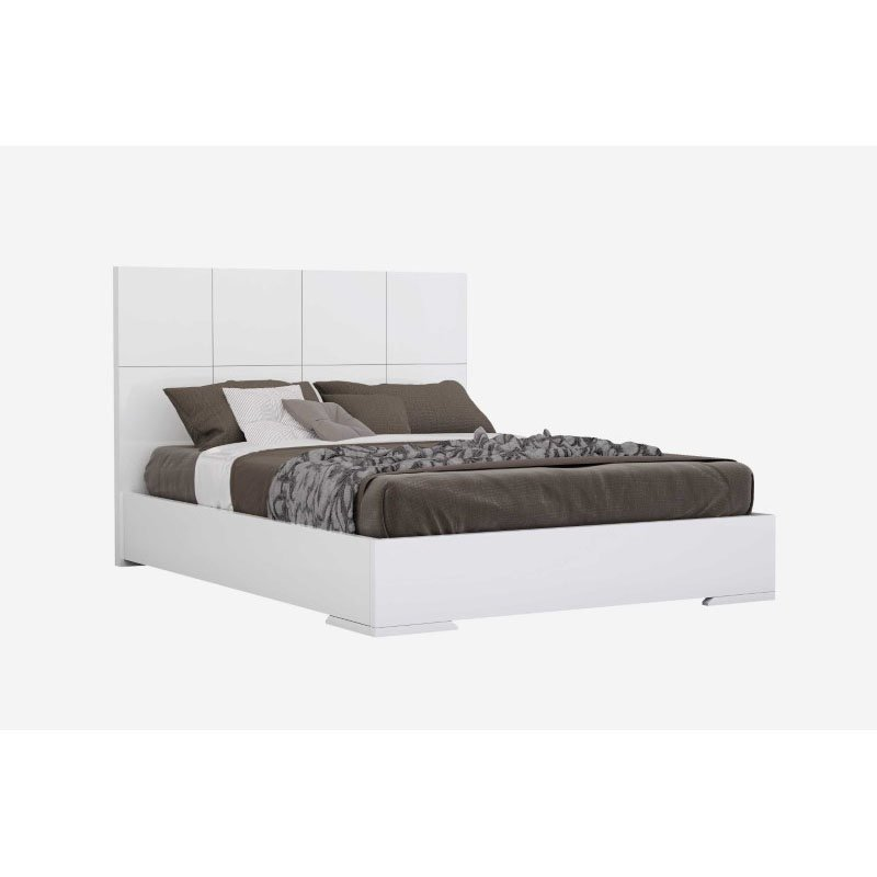 HomeRoots Furniture Bed Queen, Squares Design in Headboard, High Gloss White (320687)