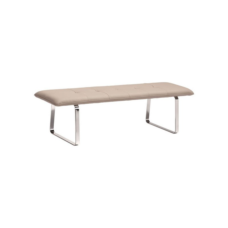 HomeRoots Furniture Bench Taupe - Leatherette Stainless Steel (249115)