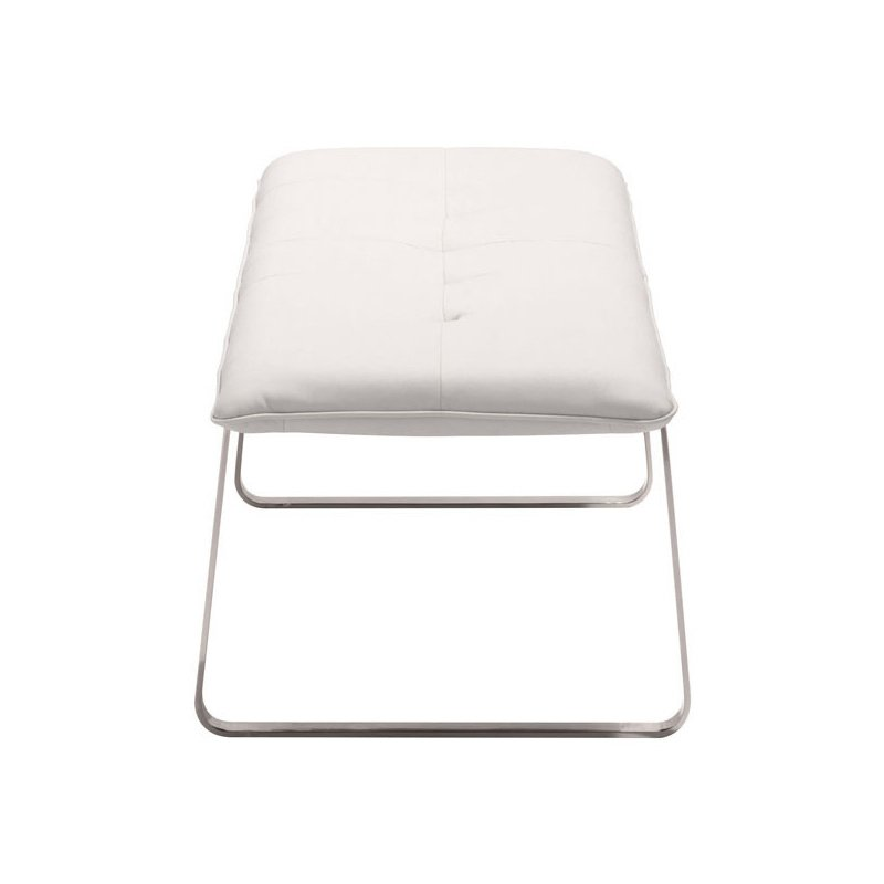 HomeRoots Furniture Bench White - Leatherette Stainless Steel (249114)