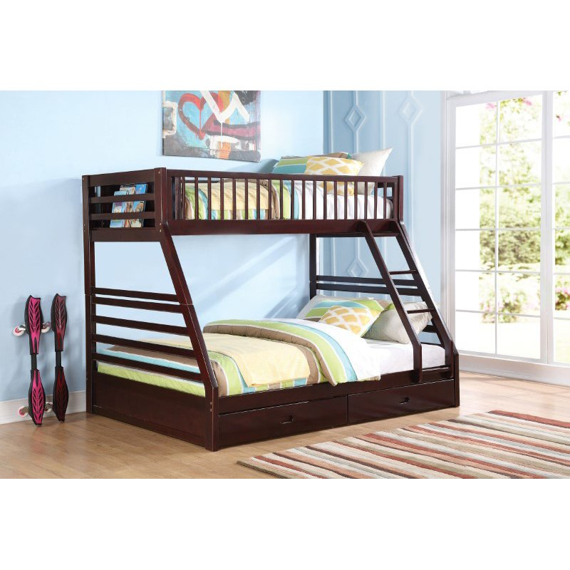 HomeRoots Furniture Bunk Bed - Pine Wood, MDF, Plywood Espresso (285312)