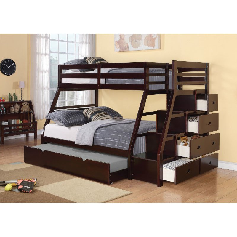 HomeRoots Furniture Bunk Bed - Pine Wood, MDF, Plywood, Espresso (286561)