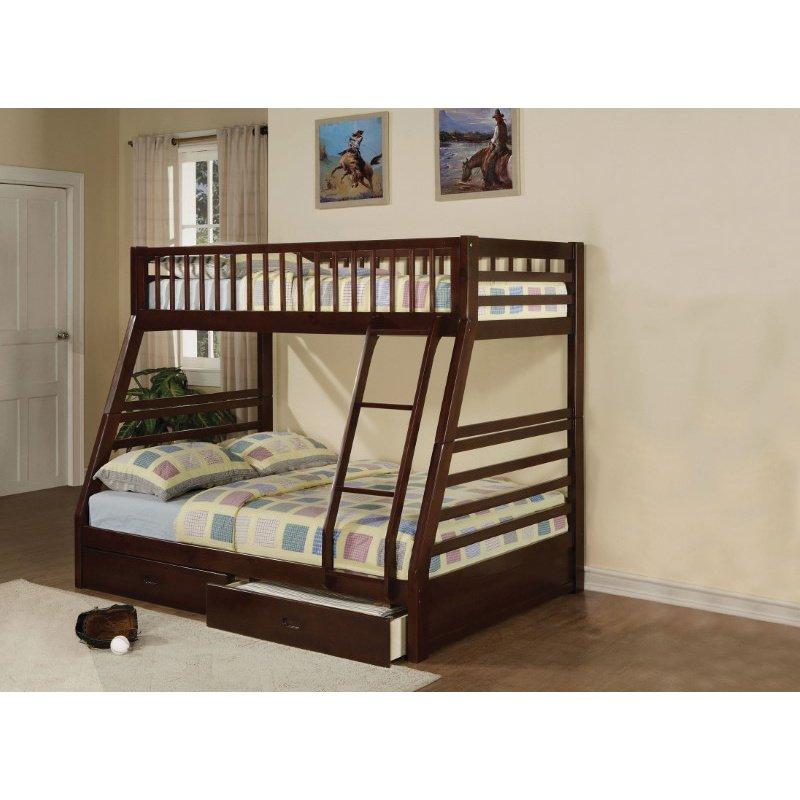 HomeRoots Furniture Bunk Bed - Pine Wood, Plywood, MDF Espresso (286524)