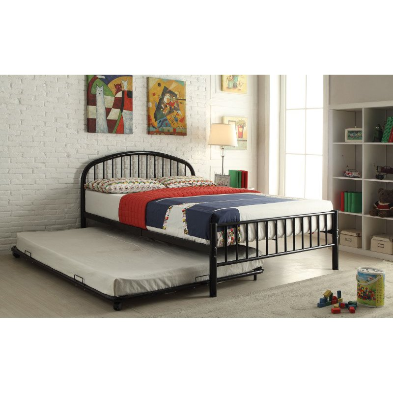 HomeRoots Furniture Cailyn Twin Bed in Black (285302)