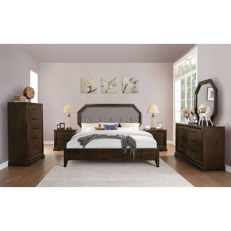 HomeRoots Furniture California King Bed in Gray Fabric and Tobacco - Fabric, Aspen, MDF, Plywood (318729)