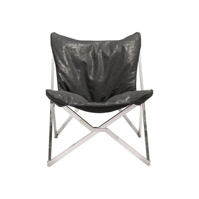 HomeRoots Furniture Chair Black - Leatherette Stainless Steel (296337)
