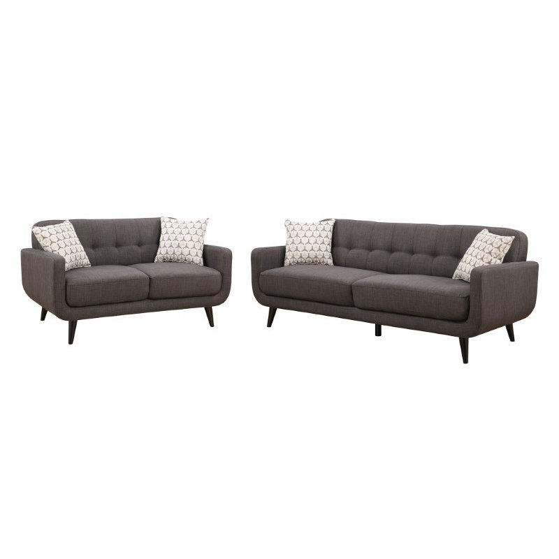 HomeRoots Furniture Charcoal 2 Piece Sofa and Love Seat Living Room Set (249753)