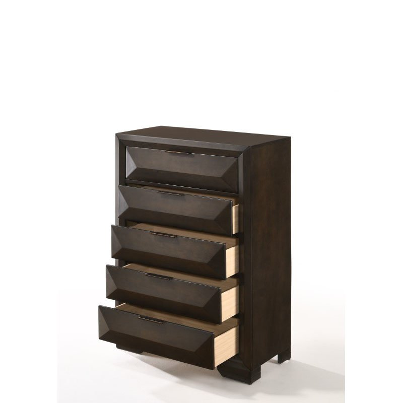 HomeRoots Furniture Chest in Espresso - Rubber Wood, Tropical Wood, Birch Betula Wood Veneer, Plywood, Chipboard, MDF (318727)