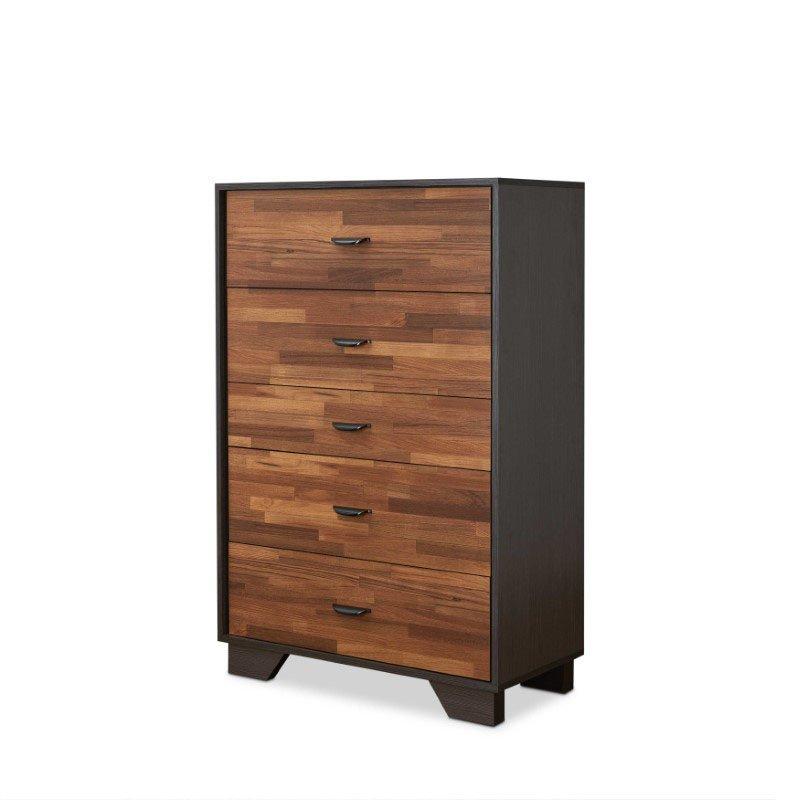 HomeRoots Furniture Chest in Walnut and Espresso - Particle Board, MDF Walnut and Espresso (286661)