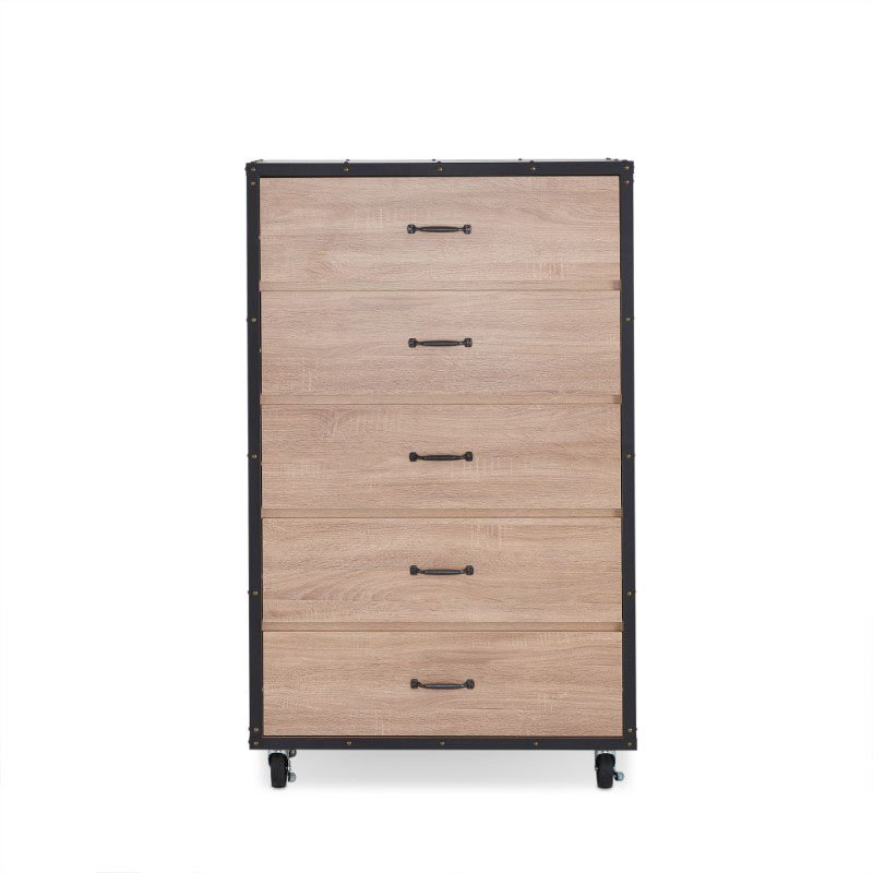 HomeRoots Furniture Chest in Weathered Light Oak - Particle Board, Metal Weathered Light Oak (286658)