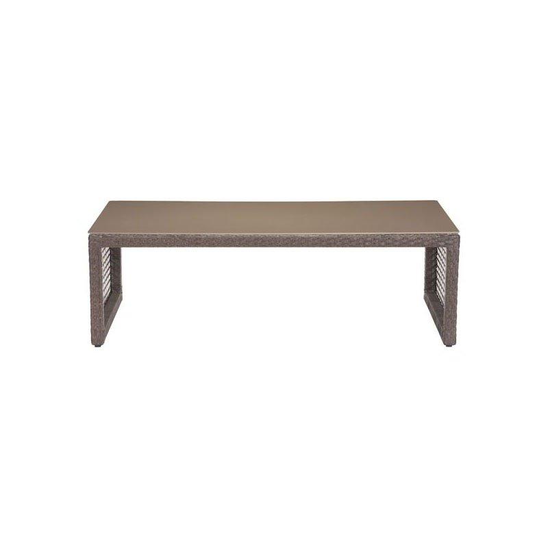 HomeRoots Furniture Coffee Table Cocoa - Tempered Glass, Synetheti Aluminum Frame (296191)
