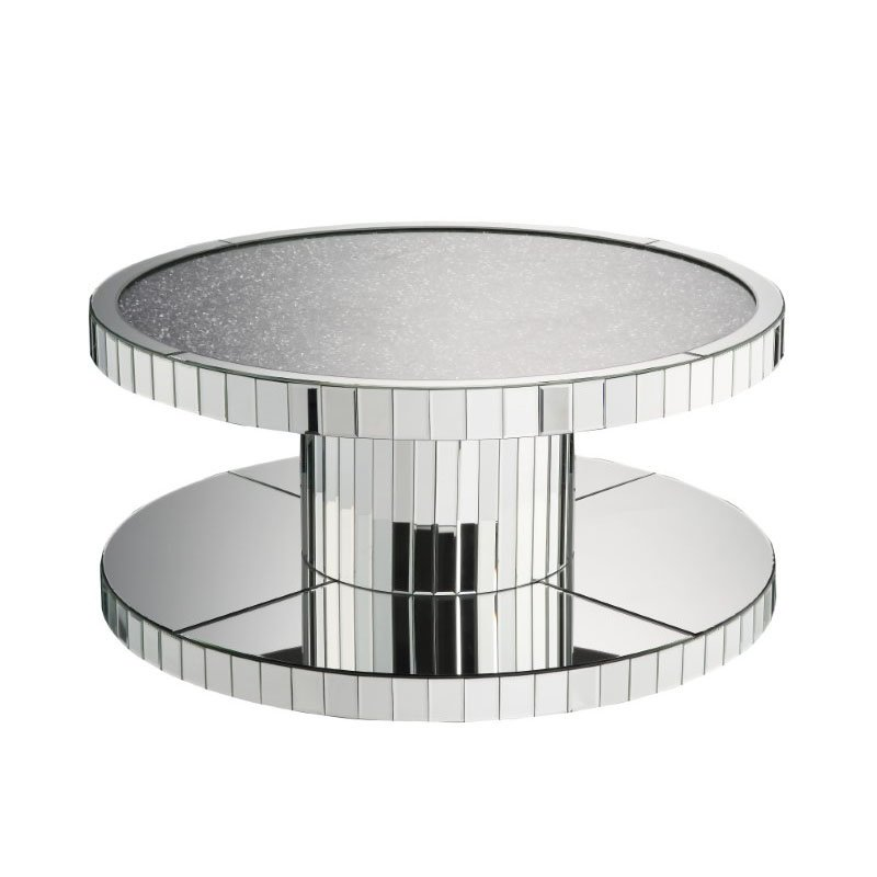 HomeRoots Furniture Coffee Table in Mirrored and Faux Stones - Mirror, Glass, MDF, Faux Stones (318964)