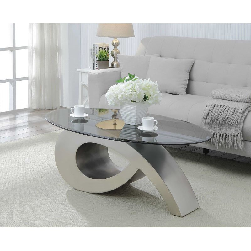 HomeRoots Furniture Coffee Table in Satin Plated and Smoky Glass - Metal, Glass (319019)