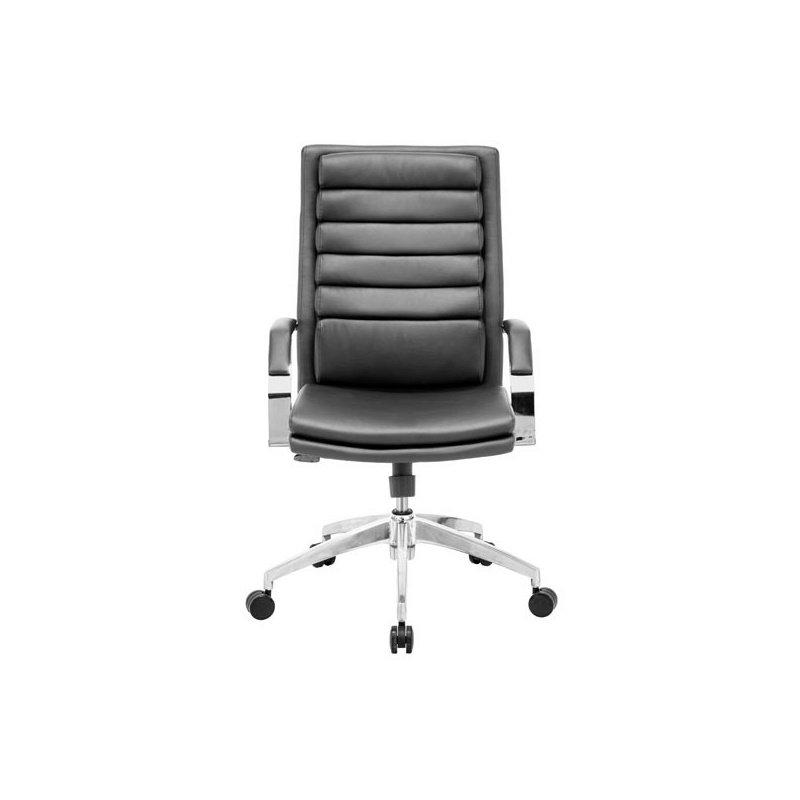 HomeRoots Furniture Comfort Office Chair Black - Leatherette Chromed Steel (248980)