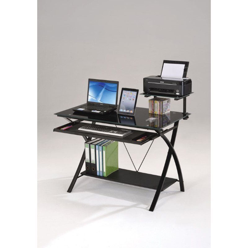 HomeRoots Furniture Computer Desk, Black - Black Glass, Particle Board (285415)