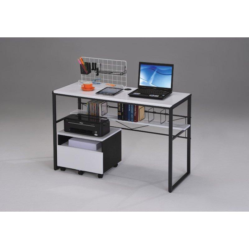HomeRoots Furniture Computer Desk, Black & White - MDF, Tube, PVC (285412)