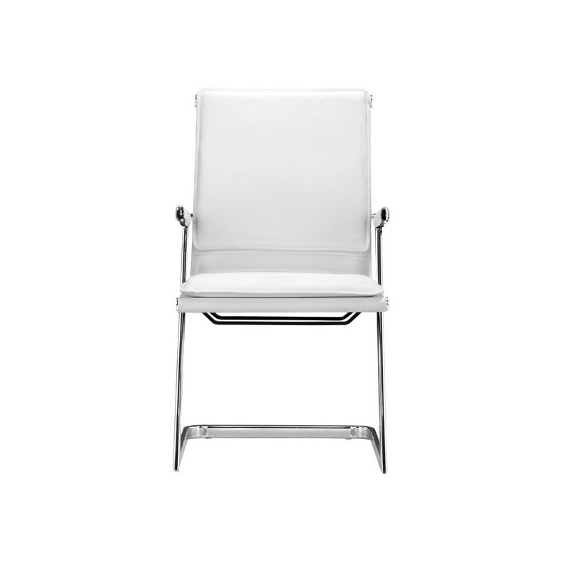 HomeRoots Furniture Conference Chair White (Set of 2) - Leatherette Chromed Steel (248996)