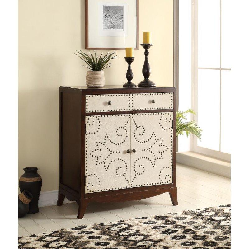 HomeRoots Furniture Console Table, Fabric & Dark Espresso - MDF, Maple Veneer, Fabric (285398)