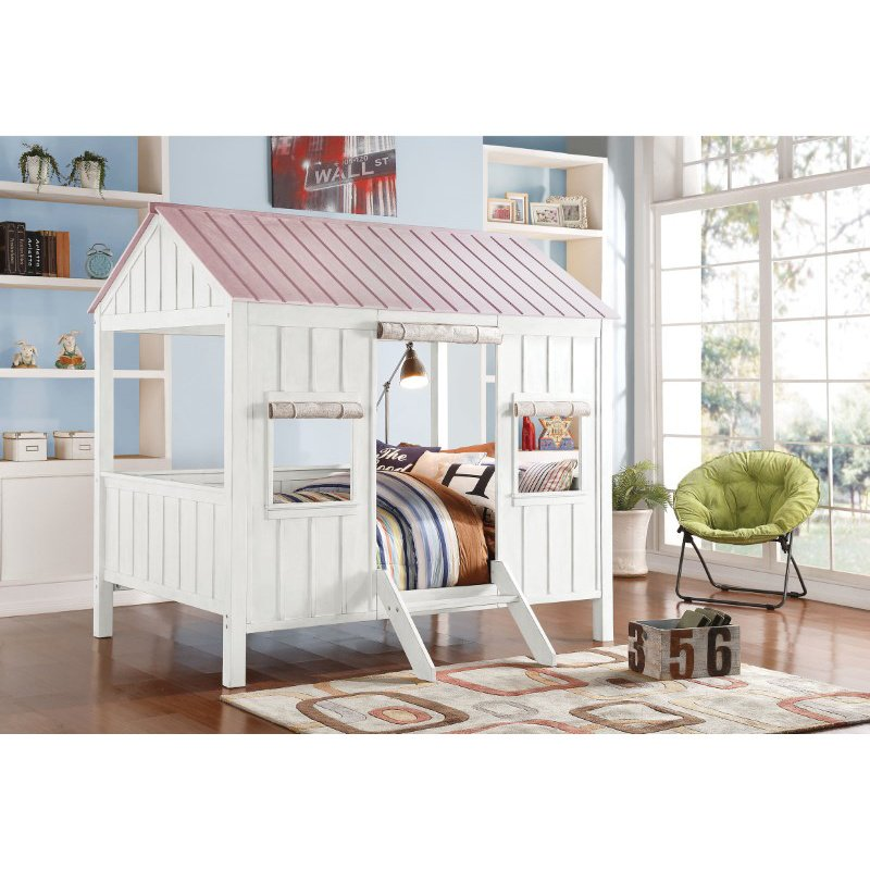 HomeRoots Furniture Cottage Full Bed, White & Pink - New Zealand Pine Wood, MD White & Pink (285632)