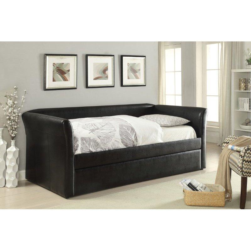 HomeRoots Furniture Daybed & Trundle, Black PU - PU, Wood Frame (285344)